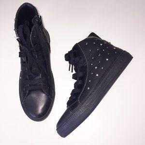 Geox Respira NEW Black Leather Moto Sneakers